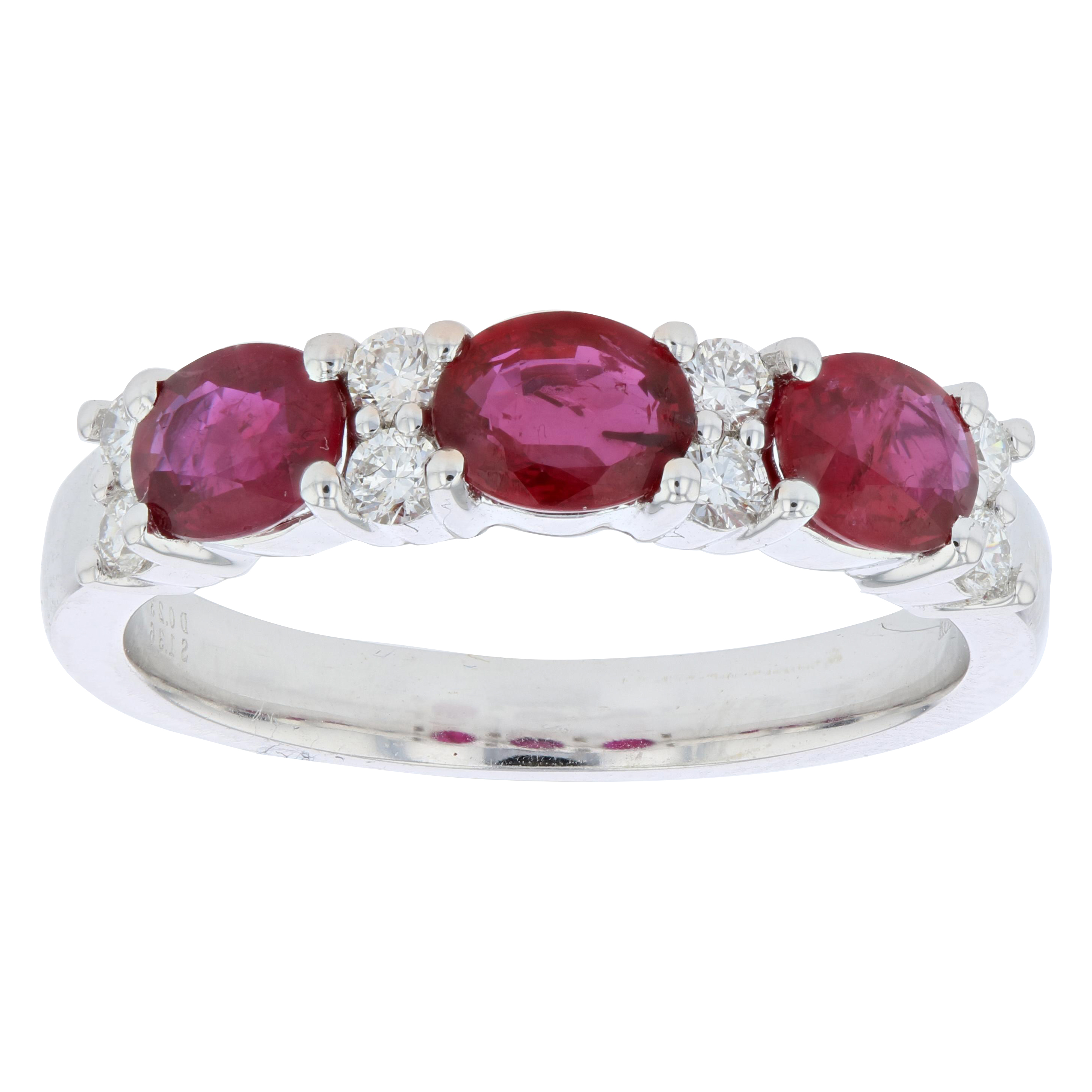 View 1.59ctw Diamond and Ruby Band in 18k White Gold