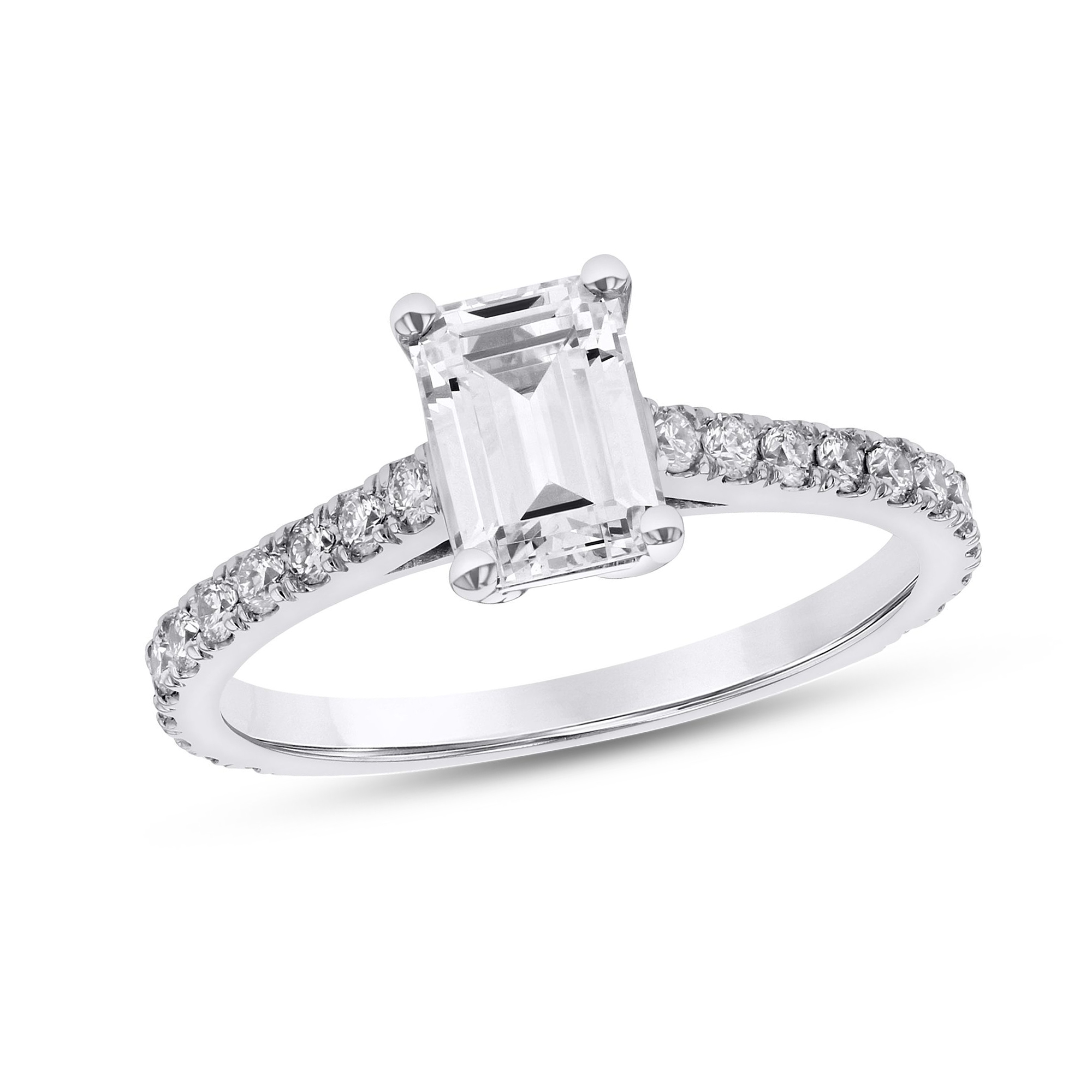 View 1.30ctw Diamond Emerald Cut Engagment Ring in 14k White Gold