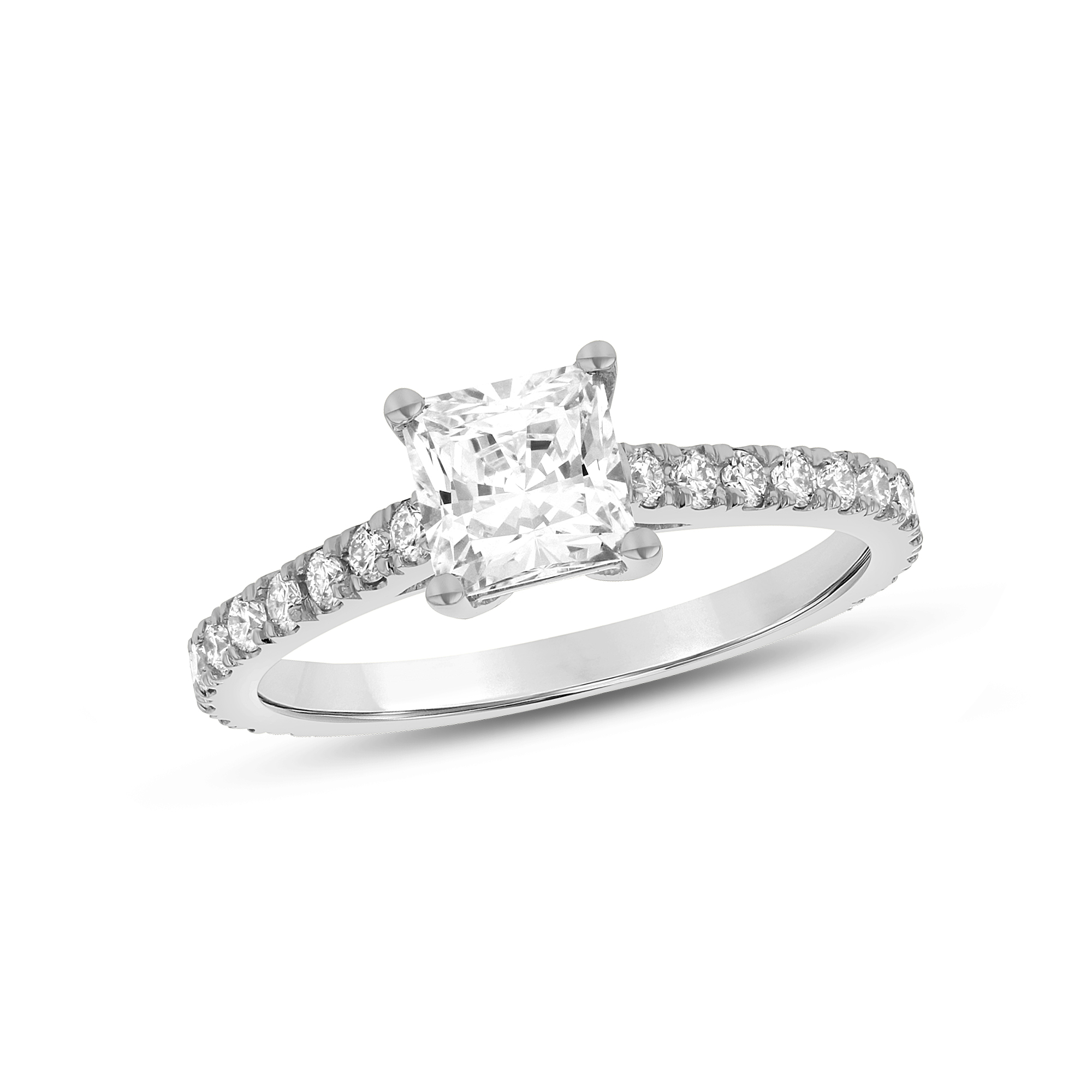 View 1.34ctw Diamond Princess Cut Engagement Ring in 14k Gold