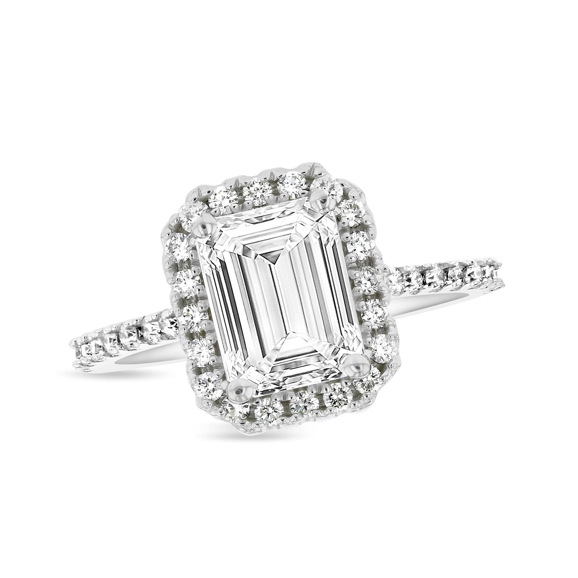 View 0.50ctw Diamond Emerald Cut Halo Semi Mount Ring in 14k White Gold