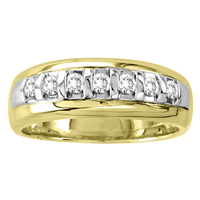 14k Gold Two Tone Men's Wedding Band with 0.40ct tw Diamonds