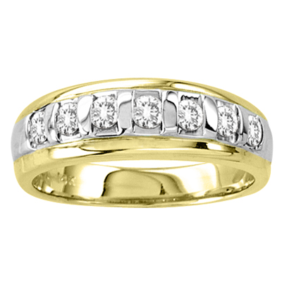 View 14k Gold Two Tone Ladies Wedding Band with 0.40ct tw Diamonds