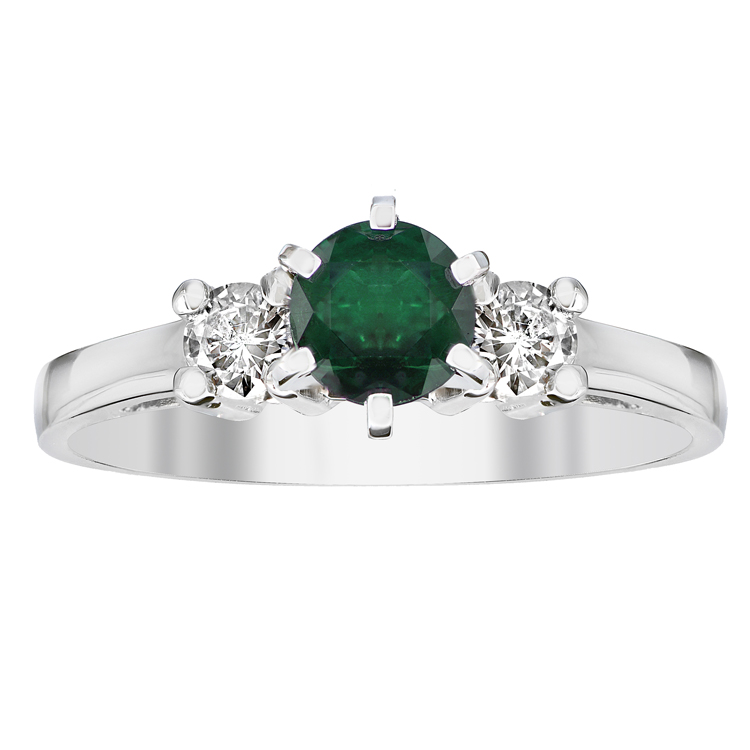 View 0.68cttw Emerald and Diamonsd Engagement Ring in 14k Gold