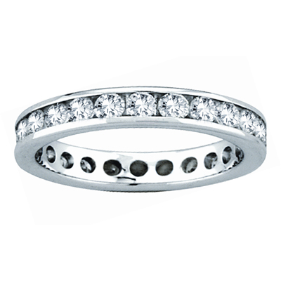 View 1.00ct tw Diamond All Around Channel Set Eternity Band 14k Gold Bridal Ring H-J SI Quality Fit to Your Finger Size (R)