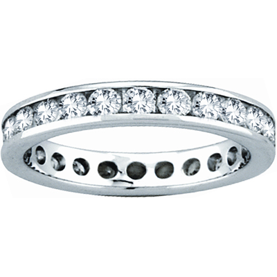 View 3.00ct tw Channel Set All Around Diamond Eternity Band 14k Gold Bridal Ring H-J SI Quality Fit to Your Finger Size (R)