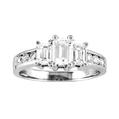 View 1.00cttw 14k Gold 3 Stone Past Present Future Anniversary Band/Engagement Ring H-I SI Quality Emerald Cut & Round Diamonds