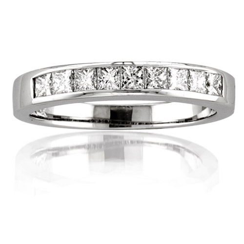 View 14k Gold Channel Set Wedding Band with 0.75 ct Princess Cut Diamonds