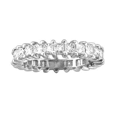 View 2.25cttw All Around Princess Cut Eternity Band 14k Gold Ring G-H VS-SI Quality Fit to Your Finger Size(W5) Prong Set