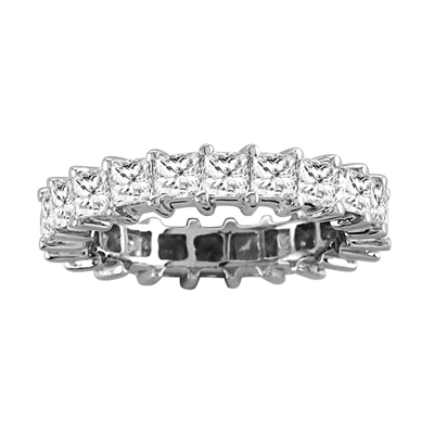 View 3.50cttw All Around Princess Cut Diamond Eternity Band 14k Gold Ring G-H VS-SI Quality Fit to Your Finger Size (W5) Prong Set