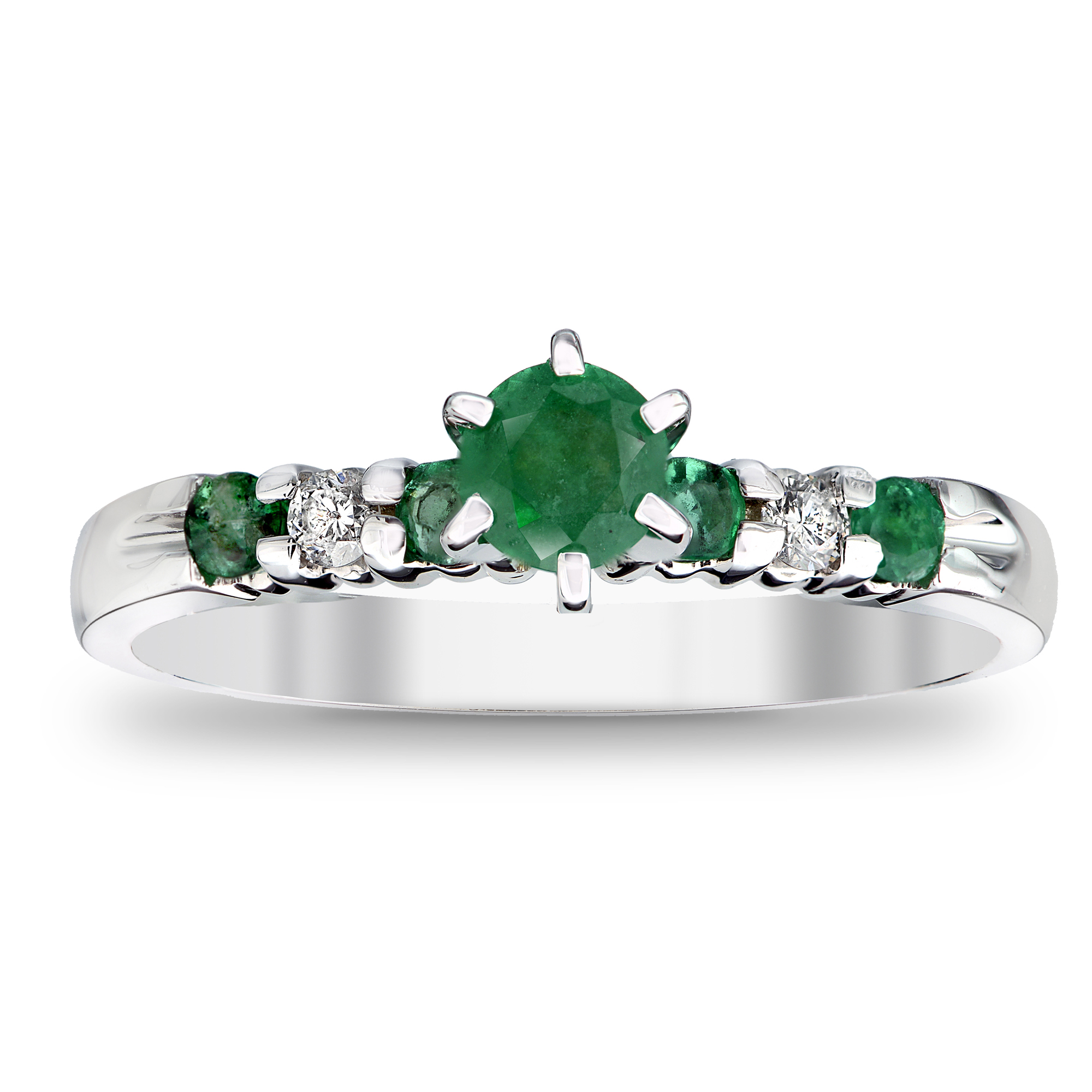 View 0.60ctw Diamond and Emerald Engagement Ring in 14k White Gold