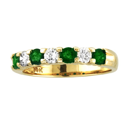 View 14K Gold Ring 0.78ct tw Round Diamonds and Emeralds Prong Set Band