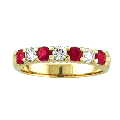 View 14K Gold Ring 0.78ct tw Round Diamonds and Natural Heated Rubys Prong Set Band