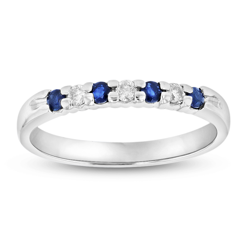 View 14K Gold Ring 0.27ct tw Round Diamonds and Sapphires Prong Set Band