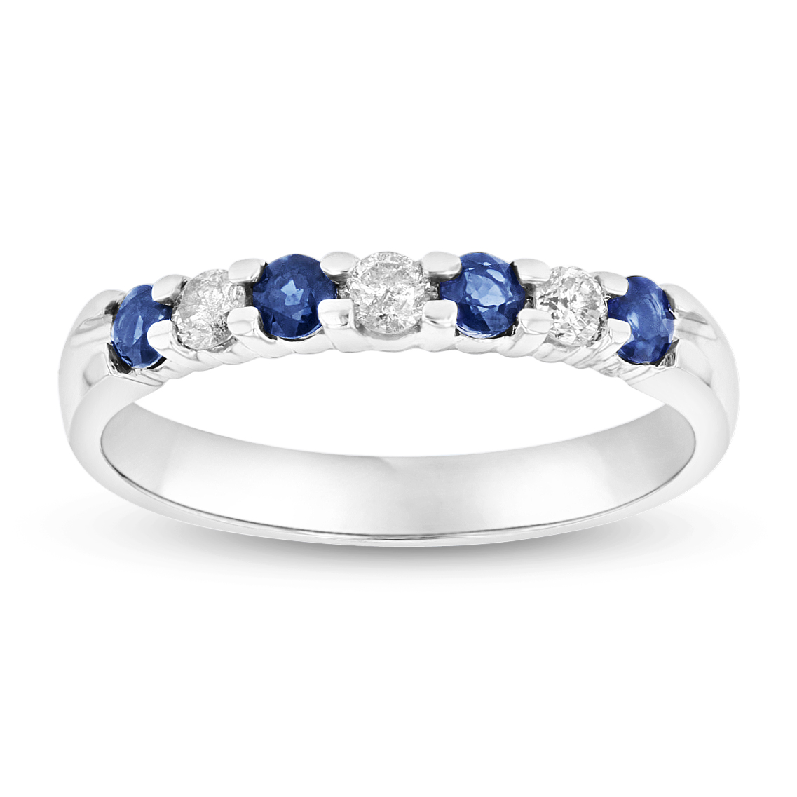 View 14K Gold Ring 0.54ct tw Round Diamonds and Sapphires Prong Set Band
