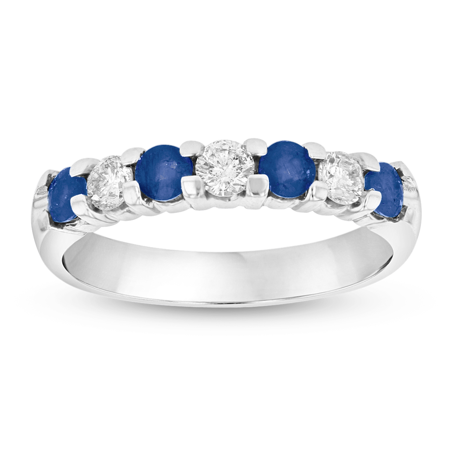View 14K Gold Ring 0.78ct tw Round Diamonds and Sapphires Prong Set Band