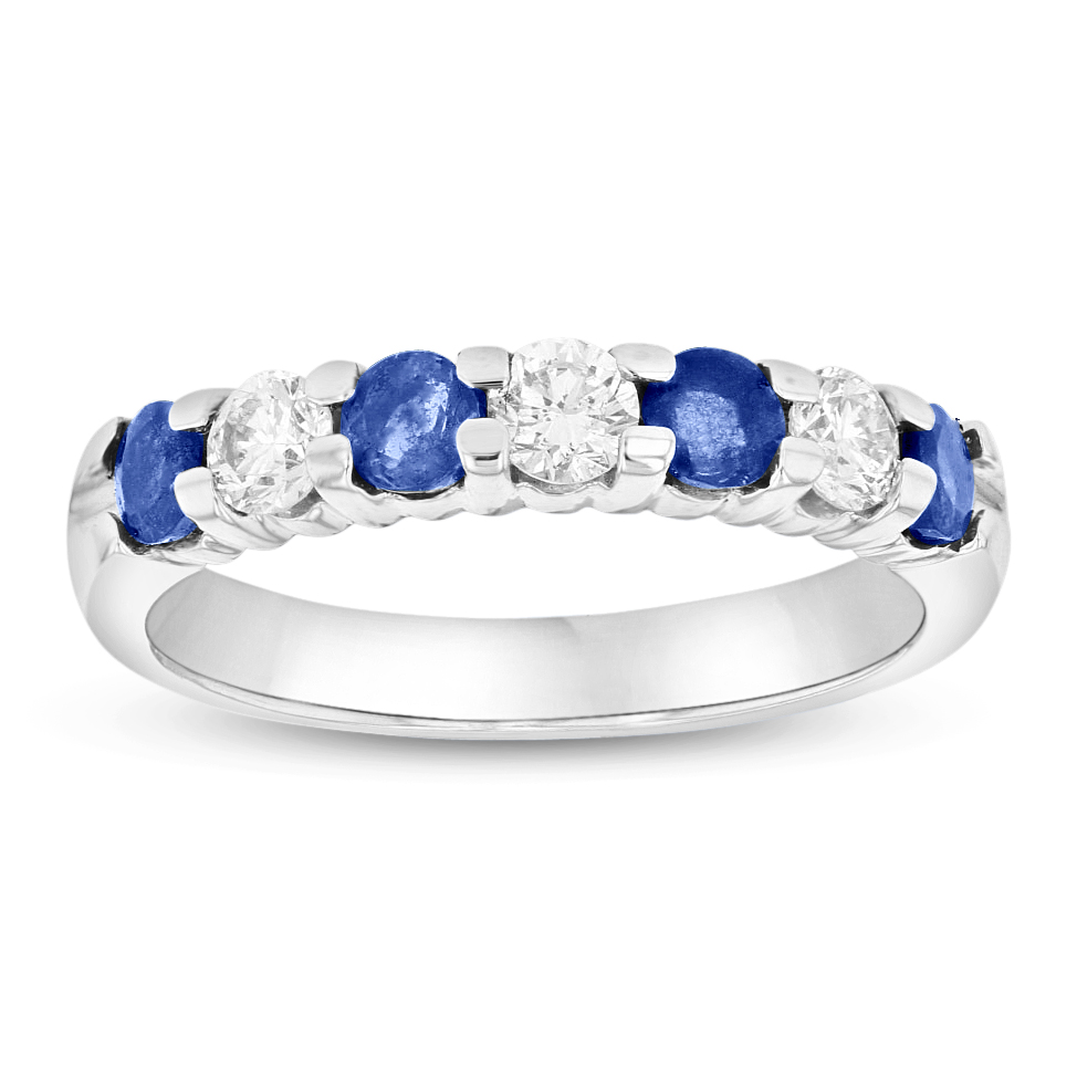 View 14K Gold Ring 1.00ct tw Round Diamonds and Sapphires Prong Set Band