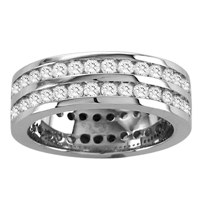 View 2.00ct tw All Around Two Row Diamond Channel Set Eternity Band 14k Gold Bridal Ring (R)