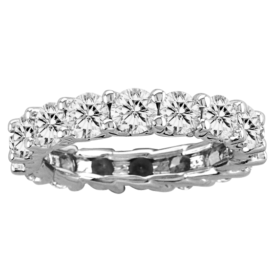View 4.00ct tw All Around Eternity Half Lucida Design Diamond Band 14k Gold Bridal Ring H-I SI Quality (R)