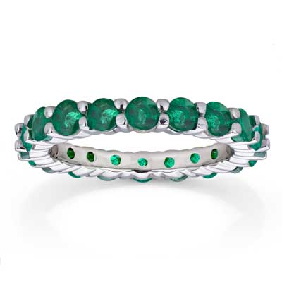 View 2.20ct tw Emerald Eternity Ring in 14k Gold