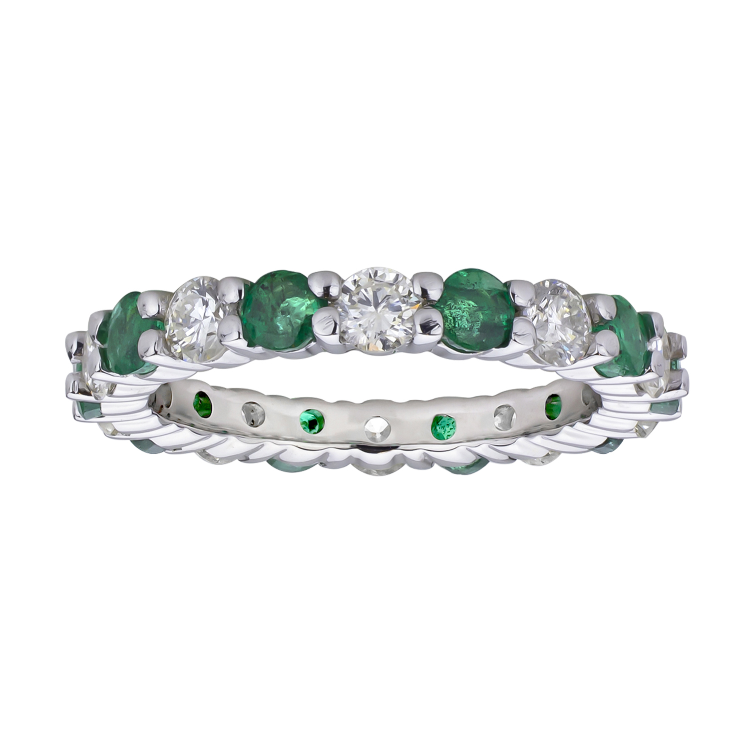 View 2.00cttw Diamond and Emerald Eternity Band set in 14k Gold