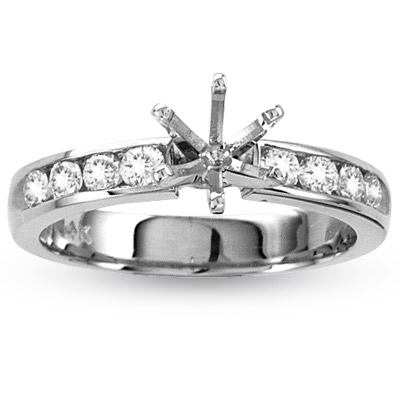 14k Gold Engagement Semi-Mount Ring with 0.80ct tw. Round Diamonds