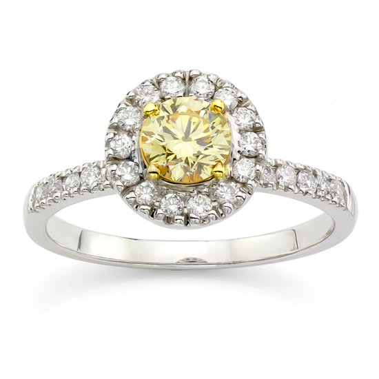 View 0.87ct tw Natural Fancy Yellow Diamond Fashion Engagement Ring in 18K two tone Gold