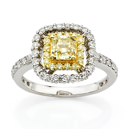 View 1.39ct tw Natural Fancy Yellow Diamond Fashion Engagement Ring 18kt Two Tone Gold