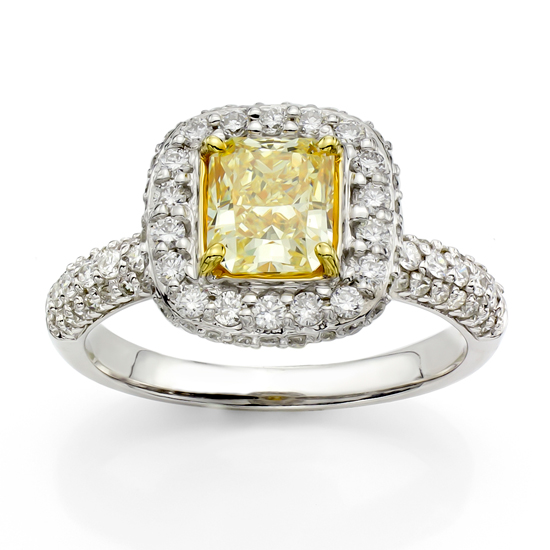 View 1.70ct tw Natural Fancy Yellow Diamond Fashion Engagement Ring set in 18k White and Yellow Gold