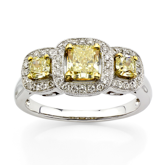 View 1.18cttw of Natural Fancy Yellow and Diamond Three Stone Fashion Ring set in 18k Gold
