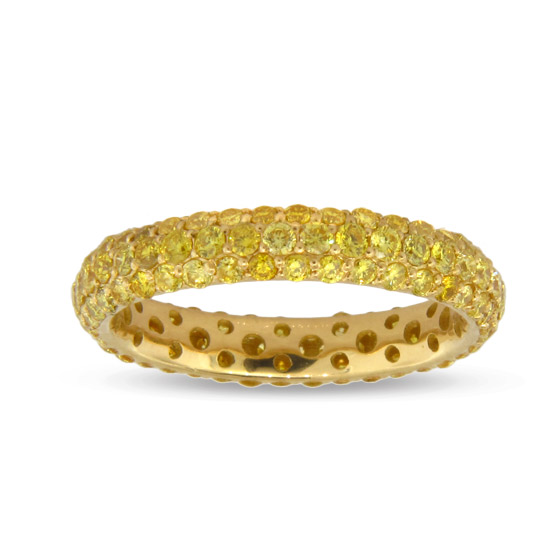 View 1.90cttw Natural Fancy Intense Yellow Micro Pave Eternity Ring set in 18k Yellow Gold Only Available in Finger Size 8