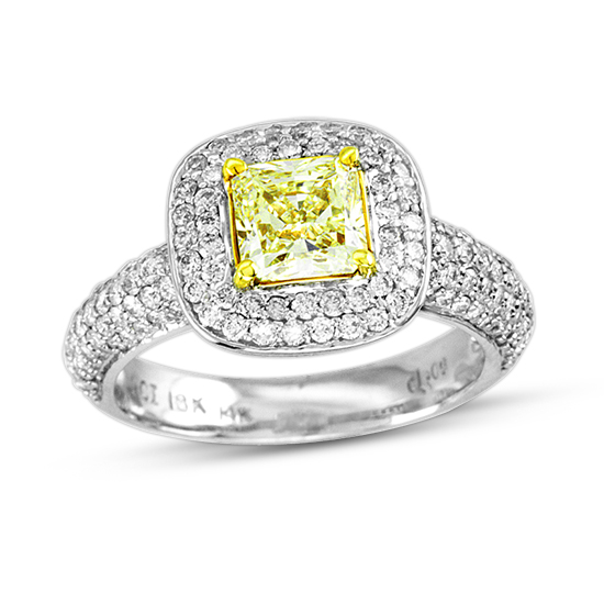 View 1.90cttw Natural Fancy Yellow Diamond Fashion Engagement Ring 1.06ct Certified Natural Fancy Light SI1 Center set in 14k and 18k Gold