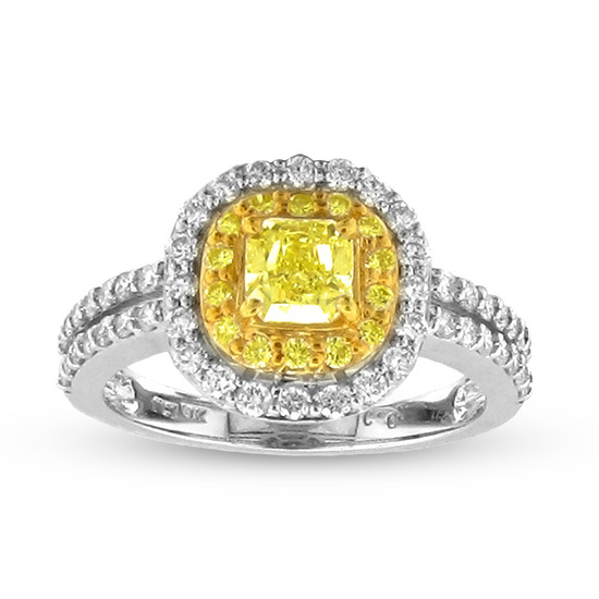 View 1.32cttw Natural Fancy Yellow Diamond Fashion Engagement Ring set in 18k two Tone Gold