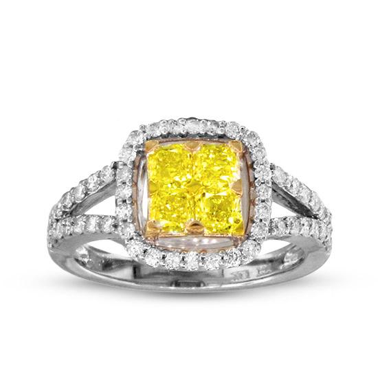 View 1.33cttw Fancy Yellow Diamond Fashion Ring in 18k Two Tone