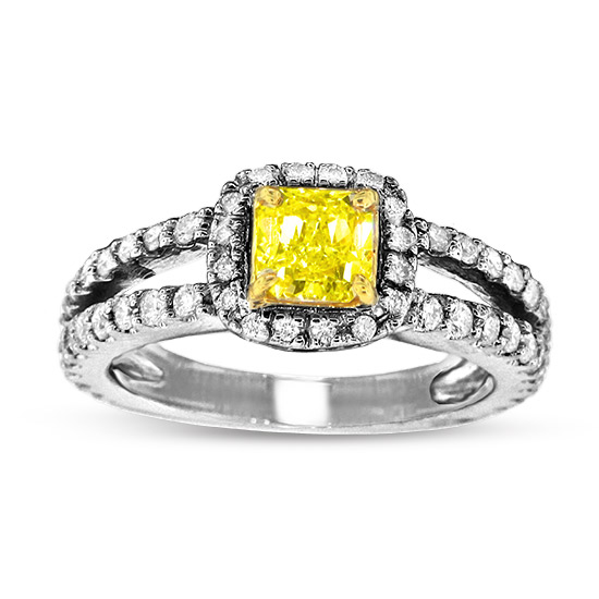 View 0.63ct Natural Fancy Yellow Diamond Ring in 18k Two Tone Gold