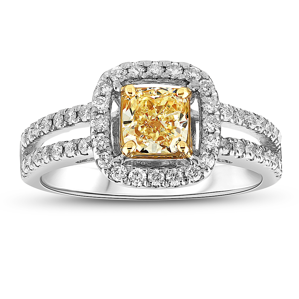 View 1.20cttw Natural Fancy Yellow Diamond Split Shank Ring in 18k Two tone