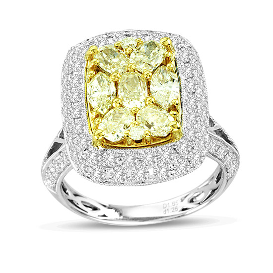 View 2.90ctw Natural Fancy Yellow Diamond Ring 18k Two Tone Gold