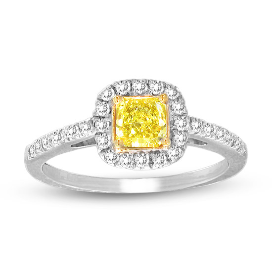 View 0.78cttw Natural Fancy Yellow Diamond Ring in 14k/18k Two Tone Gold