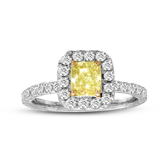 View 1 1/4cttw Natural Fancy Yellow Diamond Ring in 14k/18k Two Tone Gold