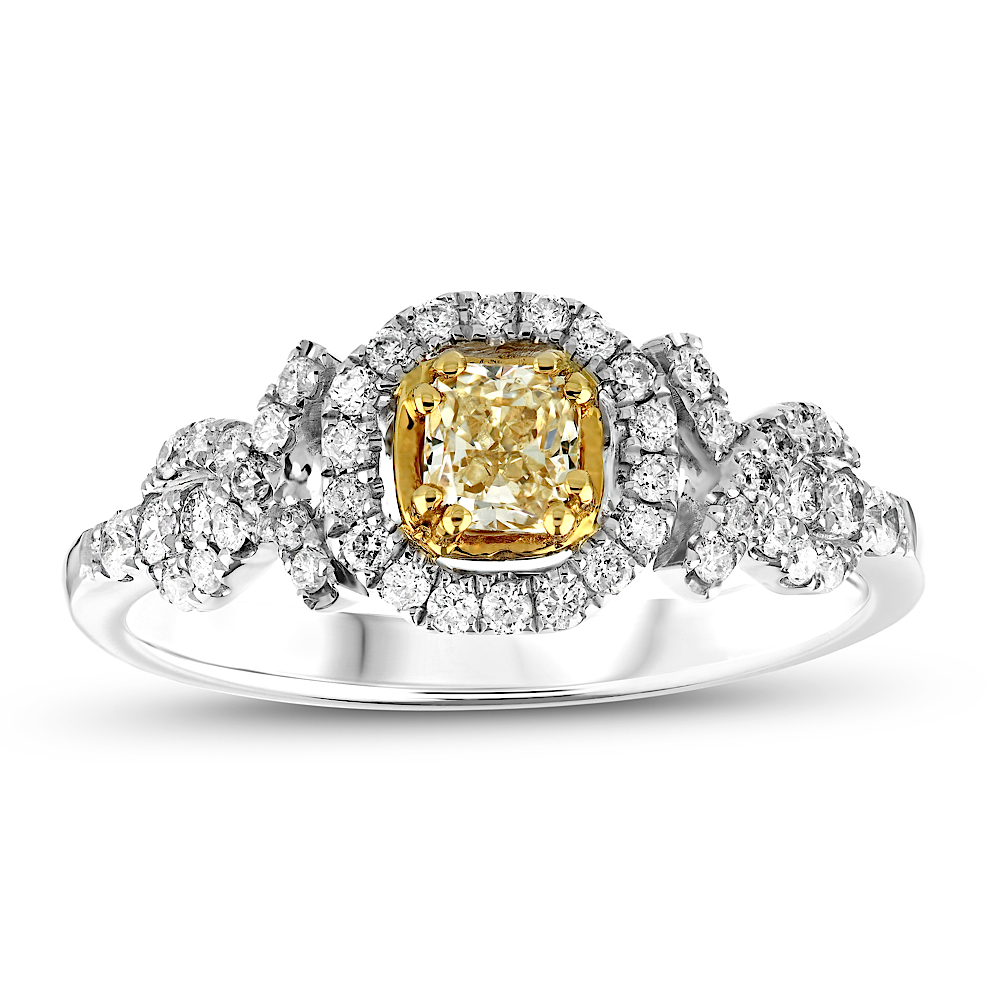 View 3/4 ctw fancy yellow and white diamond in 18K gold