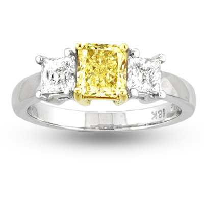 View 1.50ct Natural Fancy Yellow Three Stone Diamond Engagement Ring VVS2 GIA Certificate Set in Platinum and 18k Gold