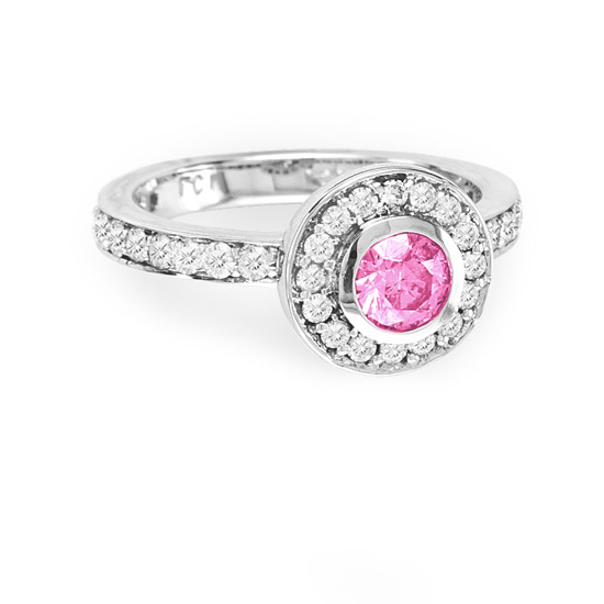 LeVaron 1.00ct tw Enhanced Pink Round Diamonds Bezel Set Center Micro Pave' Fashion Antique Look Engagement Ring set in 14k Gold - 5 at Sears.com
