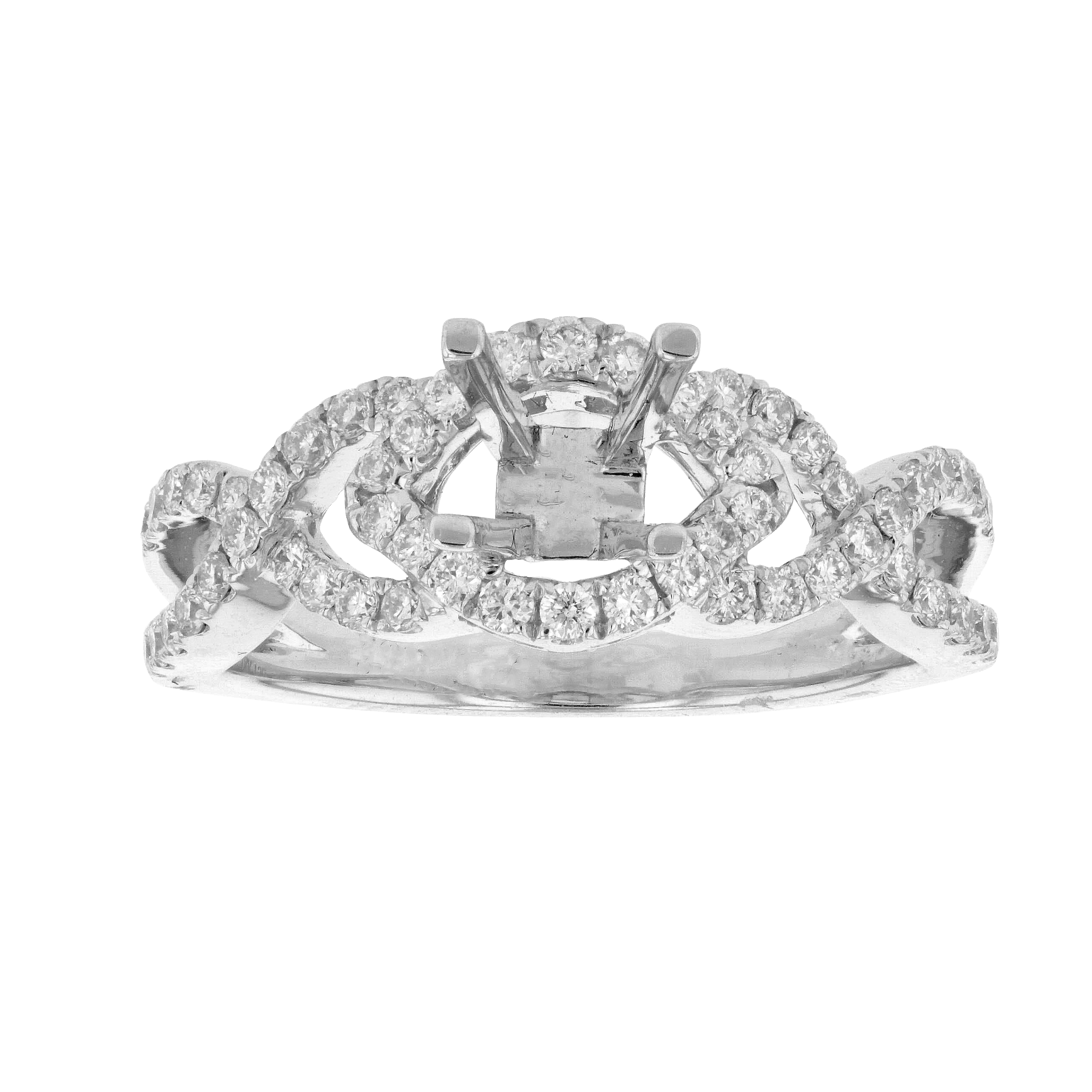 View 0.44ctw Diamond Semi Mount Engagement Ring in 18k White Gold