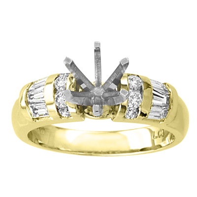 View 14k Gold Engagement Semi-Mount Ring with 0.70ct tw Round & Baguette Diamonds