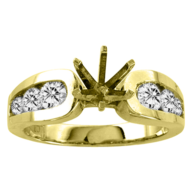 View 14k Gold Engagement Semi-Mount Ring with 0.75 ct tw Round Diamonds