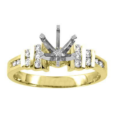 View 14k Gold Engagement Semi-Mount Ring with 0.25 ct tw Round Diamonds