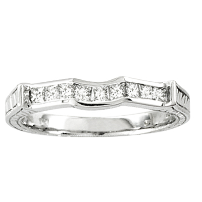 View 14k Gold Wedding Band with 0.35ct tw of Princess Cut Diamonds