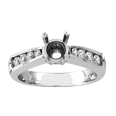 View 14k Gold Engagement Semi-Mount Ring with 0.50 ct tw Round Diamonds