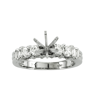 View 14k Gold Engagement Semi-Mount Ring with 0.40 ct tw Round Diamonds