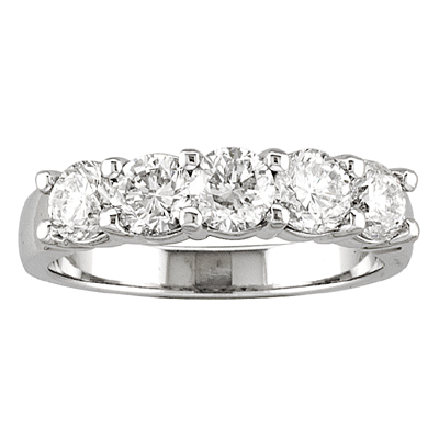 view 14k gold 5 stone wedding band with 090ct of diamonds