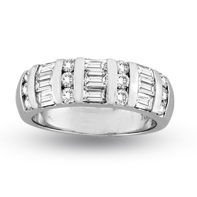 View 14k Gold Wedding or Anniversary Band with 1.25ct tw Baguette and Round Diamonds